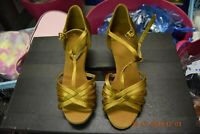 Gold satin Dancelife ballroom / latin dance shoes - size UK 2.5 (P23)