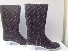 CHANEL Black/white Quilting/Matelasse Printed Rubber Rain Heel Boots Sz 42