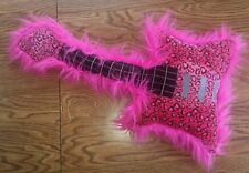 Fuzzy Pink Guitar-Shaped Instrument Stuffed Animal Plush Toy