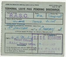 Military Form - R.A.S.C. Records Office Hastings Small Discharge Leave Pass 1947