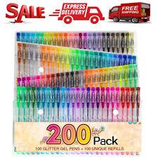 200 Gel Pens Set Glitter Metallic Neon Individual Colors for Kids Adult Coloring