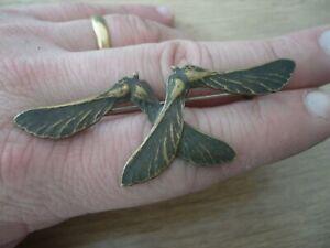 Broche ancienne art nouveau bronze feuille d'érable