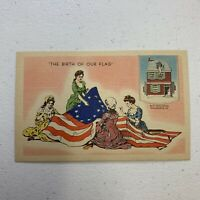 Vintage Postcard Betsy Ross American Flag Sewing Color Unused Unposted