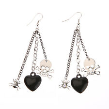 1 Pair Fashion Jewelry Punk Heart Spider Skull Silver Plated Dangle Earrings