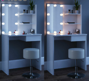 White Dressing Table Desk USB Light Dresser Drawer Stool Set Make Up Jewellery