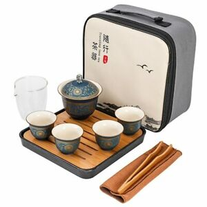 Chinese Kung Fu Travel Teaset Ceramic Creative Gaiwan Portable Tea Pot Cup Set