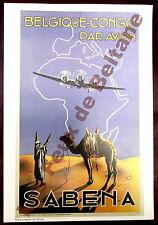 Affiche repro Sabena , Belgique Congo par avion