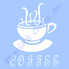 "6"" COFFEE STENCIL TEMPLATE STENCILS CUP PAINT TEMPLATES SCRAPBOOK CRAFT ART NEW"