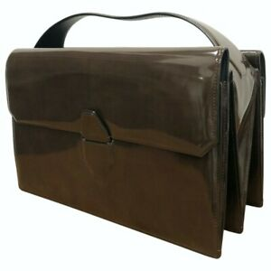 Alexander Wang FW13 Large 'Racketeer' Sling Brown Patent Leather Briefcase Bag