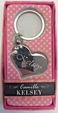 KELSEY Camille heart silver color personalized KEYCHAIN BRAND NEW IN PACKAGE