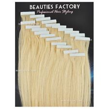 Super Adhesive Tape in Weft 20 Inch 100 Remy Human Hair Extensions Salon Grade #60 Platinum Blonde (hair518) 50 Gram (20 Pieces)