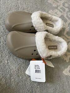Crocs Womens 9 Mens 7 Blitzen Slip On Clog Mules Brown Fur Lined Comfort Shoes