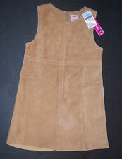 NWT Gymboree Glamour Kitty 5 5T Tan Suede Leather Stitch Jumper Dress