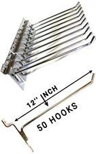 50 PCS 12'' INCH SLATWALL SLAT BOARD HOOKS ACCESSORY SINGLE SHOP RETAIL DISPLAY