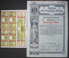 3% Anleihe Deutsches Reich 1000 Mark 1915 unentwertet + Kupons