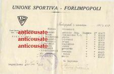 FORLIMPOPOLI calcio lettera intestata 1933 Autografo Antonio Roversi