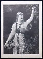 GOLDEN Autunno Emile Eisman-Semenowsky LADY LA RACCOLTA FRUTTA Vittoriano Stampa 1894