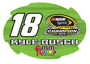 """Kyle Busch #18 2015 Sprint Cup Champion 4.5""""x 6.5"""" SWIRL Vinyl Magnet-NASCAR #18"""