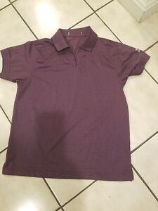 "Womens Golf Shirt M Medium  Short Sleeve Loose Fit Purple/Plum ""Boston Chapter"""