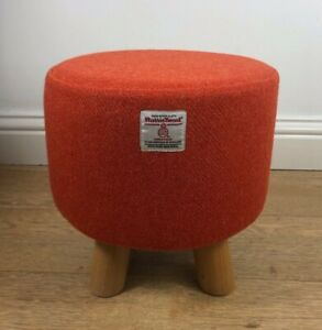 New Footstool made with Harris Tweed Fabric Burnt Orange