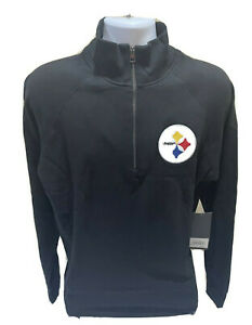 Pittsburgh Steelers Mens 1/4 Zip Black Fleece Pullover NFL Size Large NWT