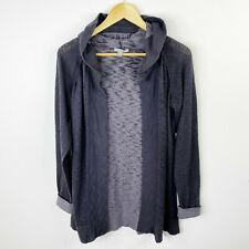James Perse Size 4 US XL Gray Open Cardigan Sweater Jacket Hood Charcoal Gray