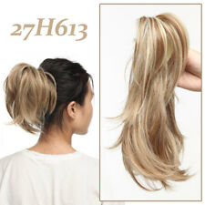 Layered Pony Tail Short Wavy Pony Piece Claw Clip IN Hair Extensions Blonde xmof