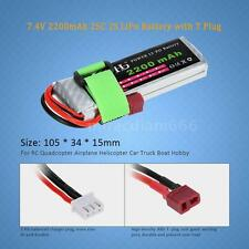 7.4V 2200mAh 25C 2S LiPo Battery with T Plug for RC Airplane Car Truck Boat R4J6