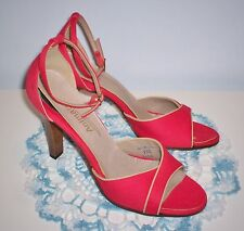 """Vintage Women's Animato Dress Shoes Heels Size 9 Ankle Strap 4"""" Heel Red Taupe"""