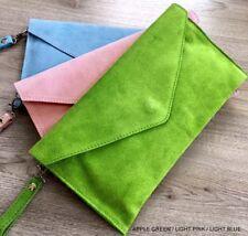 Apple Green Wedding Clutch Bag Evening Bag Oversize Envelope Suede Made in Italy