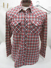 "Retro ""Authentic Western Young Bloods"" Men's Red Plaid Ranchwear Shirt w/Snaps"