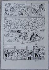 Hergé Tintin au Tibet Copie de Bleu d'imprimerie Planche 28 Format A4 Superbe !