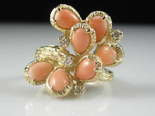 Angel Skin Coral Diamond Ring 14K Yellow Gold Pink Salmon Cluster Fine Jewelry
