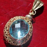 18k multi tone gold pendant Italian 6.50c aquamarine solitaire charm 2.6gr C-55