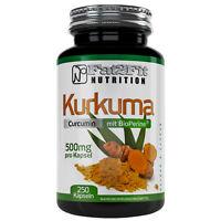 Kurkuma mit BioPerine® 250 Kapseln je 500mg Fat2Fit Nutrition