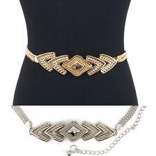 Bling Women Long Full Metal Chain Wide Chevron Diamond Hip Waist Belt S M L XL