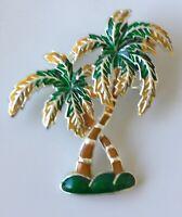 Vintage Coconut Palm tree  brooch & pendant In enamel on silver  tone metal