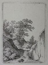 FRANZ RECHBERGER `DIE HÜTTE AM WASSERFALL; COTTAGE NEAR A WATERFALL´  ~1800