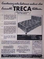 PUBLICITÉ 1955 TRÉCA ENSEMBLE MATELAS ET SOMMIER ACCOTOIRS PULLMAN - ADVERTISING