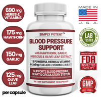 Blood Pressure Support Supplement w Hawthorn Garlic, Hibiscus for Healthy Heart