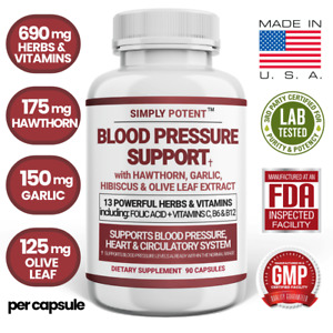 Blood Pressure Support Supplement w Hawthorn Garlic Hibiscus for Healthy Heart