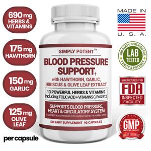 Blood Pressure Support Supplement 90 Ct for Heart Health w Hawthorn Garlic Olive