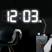 Digital 3D LED Wall Clock Alarm Clock Snooze 12/24 Hours Display USB