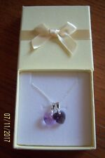 DOUBLE CRYSTAL HEART SHAPED NECKLACE ON 925 STERLING SILVER CHAIN AMETHYST BNIB