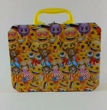 Kid's Tin Lunchbox | Yellow Black | Yellow Handle | Emoji Faces Icons | EUC