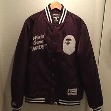 BAPE WGM World Gone Mad Violet Purple Bomber Varsity Jacket XL Men's Majestic