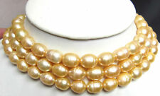 48 INCH HUGE 13MM NATURAL SOUTH SEA GENUINE GOLDEN PEARL NECKLACE 14K CLASP