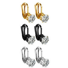 Women Stainless Steel White Cubic Zirconia Clip On Ear Clip Stud Ladies Earrings