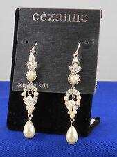Faux Pearl Linear Drop Earrings Cezanne Dillards Sensitive Skin Silver Crystal