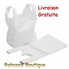 Lot 100 sacs plastique blancs bretelles 25 x 42 cm sac plastique blanc
